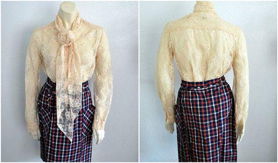 Vintage Cream Lace Blouse with Neck Tie. Medium. #vintage #blouse #lace #etsy. $30.00