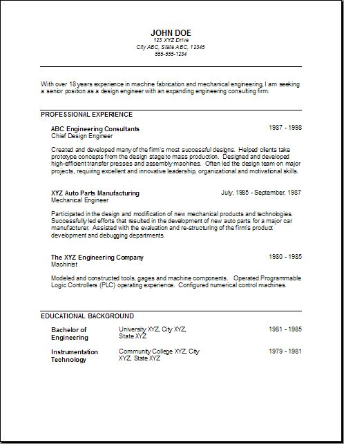 Mechanical Engineer Resume For Fresher - http\/\/wwwresumecareer - chief mechanical engineer sample resume