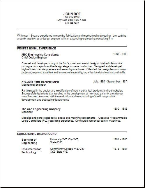 Mechanical Engineer Resume For Fresher -   wwwresumecareer