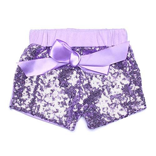 Digirlsor Baby Girls Sequin Shorts Toddler Kids Bowknot Cotton Short Pants Sparkles on Front,1-6Y