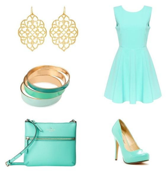 """Mint and Gold"" by beanielephant ❤ liked on Polyvore featuring Susan Shaw, Kate Spade and Michael Antonio"