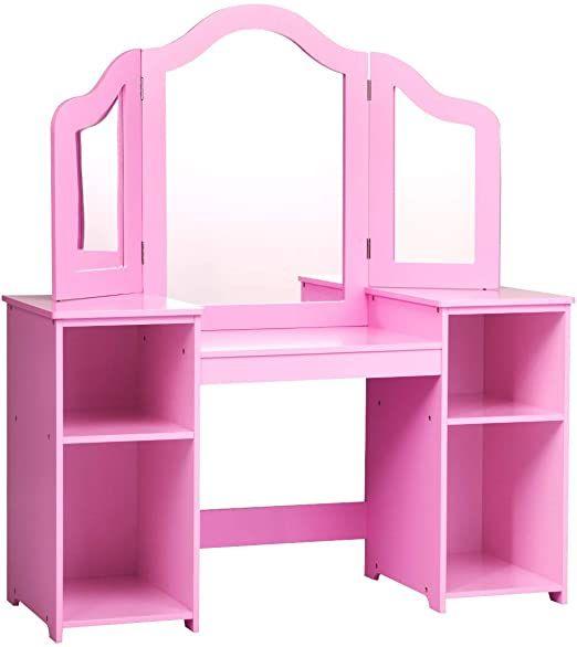 Pink Kids Girls Makeup Dressing Vanity Table Set Multi Functional Tri Folding Mirror Study Desk Storage Shelf With Eboo In 2020 Vanity Table Set Vanity Table Pink Kids
