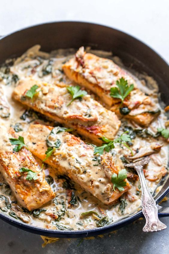 Salmon Skillet with Sun-Dried Tomato Cream Sauce