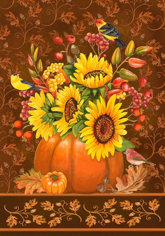 Pumpkin Bouquet Garden Flag: