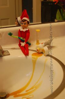 Elfie made a mess brushing his teeth