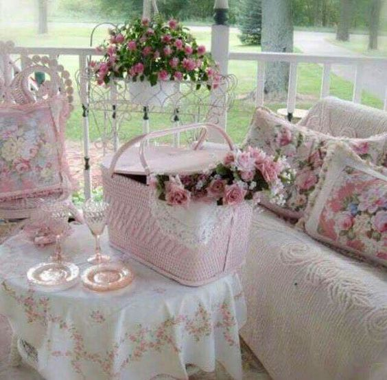 pink shabby chic roses picnic basket front porch pink and white pink shabby chic. Black Bedroom Furniture Sets. Home Design Ideas
