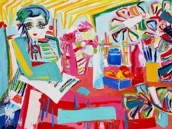 La terrasse - 130 x 97 cm - Huile sur toile