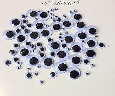 160 Wackelaugen 3 Grössen 15-8-5 mm Augen Basteln Papier Kleben Kinder