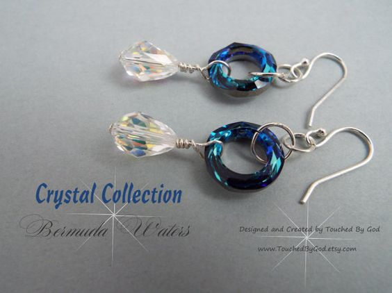 Swavorski Bermuda Blue Cosmic Circle & Crystal AB Teardrop Earrings in the Crystal Collection. For ladies who want jewelry that's as fabulous as they are, Touched By God's jewelry is a fresh alternative to generic mass made pieces. The circle is a symbol of life, hope, and karma. The cosmic circle is modern and stylish, as well as timeless & classic. All around beautiful everyday staple earrings that will make an excellent gift idea for any of the wonderful women in your life!
