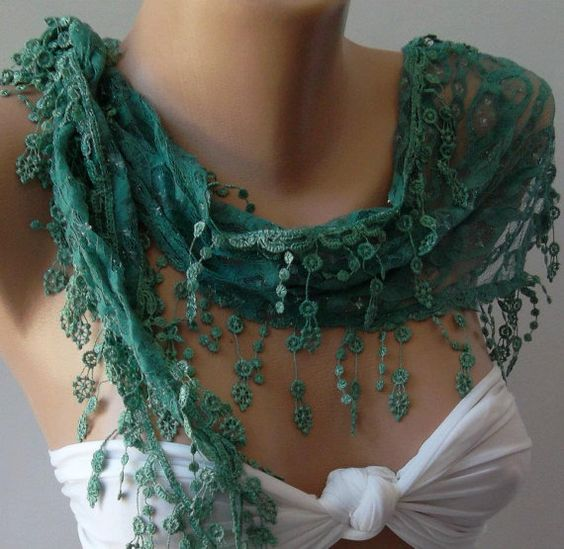 Green / Elegance  Shawl / Scarf with Lacy Edge by womann on Etsy, $16.00