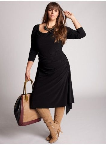 Camel suede boots with LBD & chunky necklace. Love 3/4 sleeves and long matching sash.
