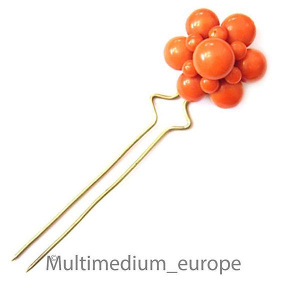 Biedermeier Haar Nadel Koralle Silber vergoldet Steck kamm antique coral comb | eBay