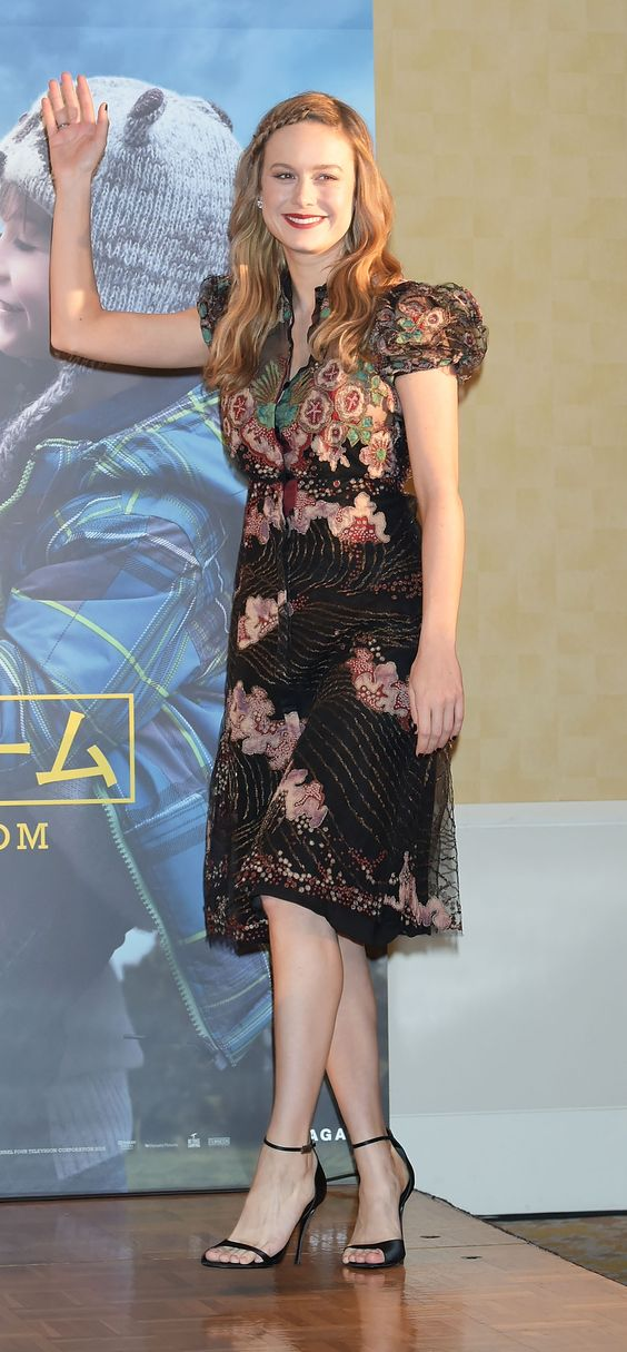 Actress Brie Larson in a Valentino Fall 2016 black lace gown at the press conference for her movie Room in Tokyo on March 22nd..