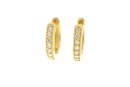 Small 18K  Yellow Gold White Diamond Huggie Hoop Earrings #judefrances These are also made in white gold!