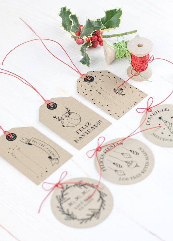 Etiquetas imprimibles navideñas en español, de Project Party Studio :)