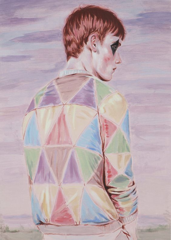 "Kris Knight, Harlequin, 28x20"" (on 30x22"" paper), Oil on prepared cotton paper, 2015"