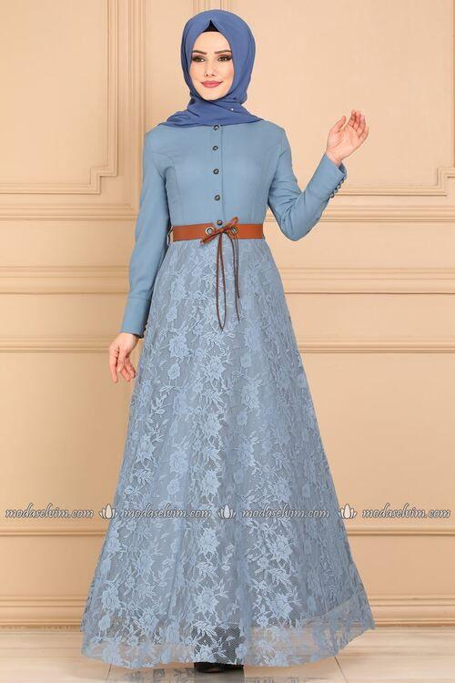 Modaselvim الفساتين Kemerli Dantel Elbise 8648w153 Mavi Dantel Elbise Batik Elbise Elbise