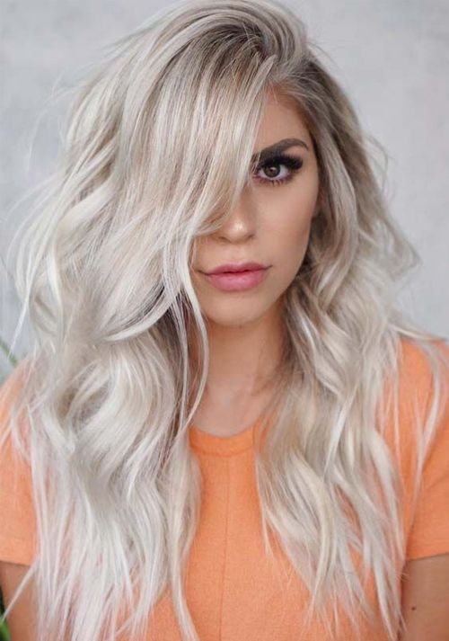 Pretty Long Fluffy Platinum Blonde Hairstyles To Get