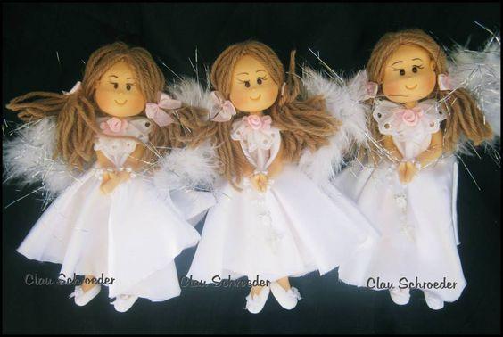 Angelitas con tela .-