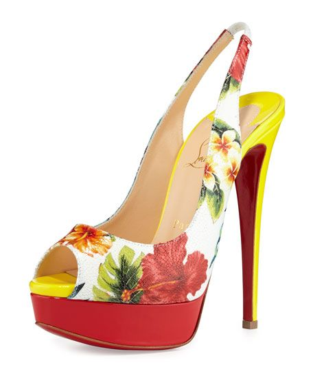 lou boutin shoes - Christian Louboutin Hawaiian-print embossed leather pump with ...