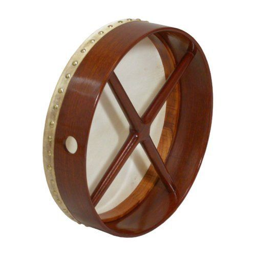 "Bodhran, 14""x3.5"", Fixed, Rosewd, Cross by Roosebeck. $62.82. Double fixed crossbars. Goatskin, fixed head, rosewood. Includes a tipper.. Save 15% Off!"