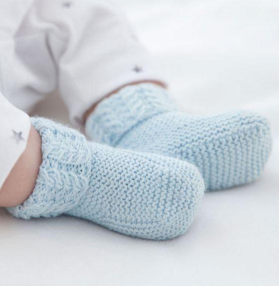 Les chaussons en tricot de b b pour l 39 envelopper de douceur tricot en 39 fil partner baby - Point fantaisie tricot phildar ...