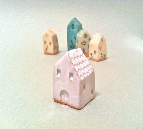 Bomboniera / Piccola casetta bianca in ceramica #1 / Decorazione in ceramica / Miniature