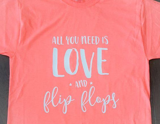 Love & Flip Flops T-Shirt  Summer T-Shirt by Createdinthasouth