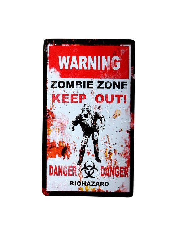 Halloween Deko-Schild Zombie weiss-rot-schwarz 33x19cm. Aus der Kategorie Halloween Partydeko / Halloween Dekoration. Vor dem bissigen Hund warnt man ja auch ganz gern mit einem Hinweisschild. Da hat dieses Zombie-Warnschild auf der Halloween-Party durchaus seine Berechtigung!