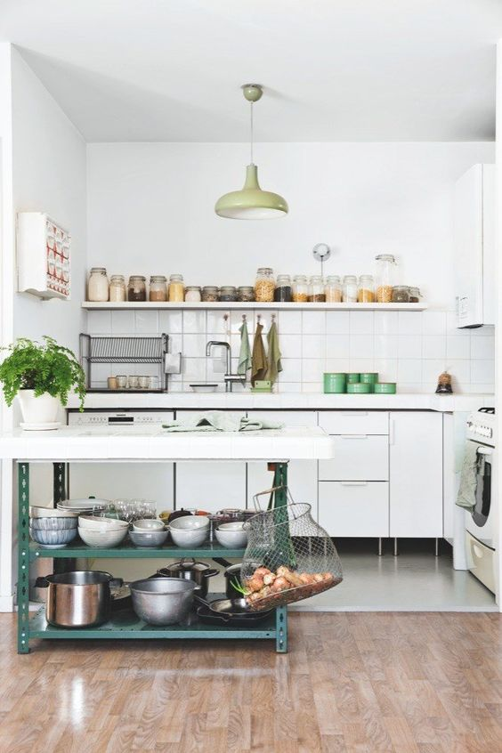 Kitchen with open shelving and neutral Scandinavian color scheme: