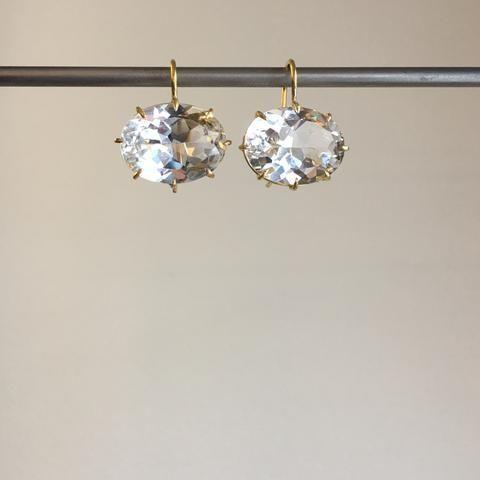 18K Gold Round White Topaz Ear Clip Circle Dangle Drop Earrings Love Jewellery