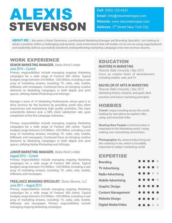 Simple and Modern Resume Template Kukook Resume by kukookresume - marketing manager resume template