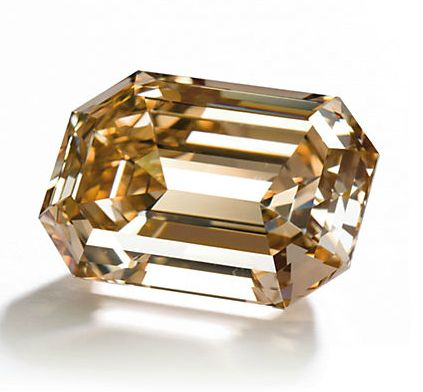 23.60 carat fancy brown-orange diamond - given to Elizabeth Taylor from Richard Burton in 1975--the stone was set in a ring, which the couple later returned in order to fund a hospital in Botswana. via Christie's
