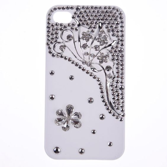 Luxury Crystal Hollow Butterfly 3D Cell Phone Case Cover For Apple iphone4 4s