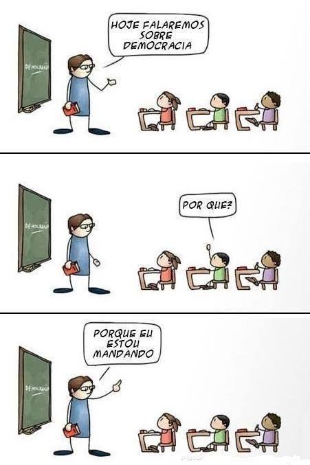 Aula de democracia. #quadrinhos #tirinha