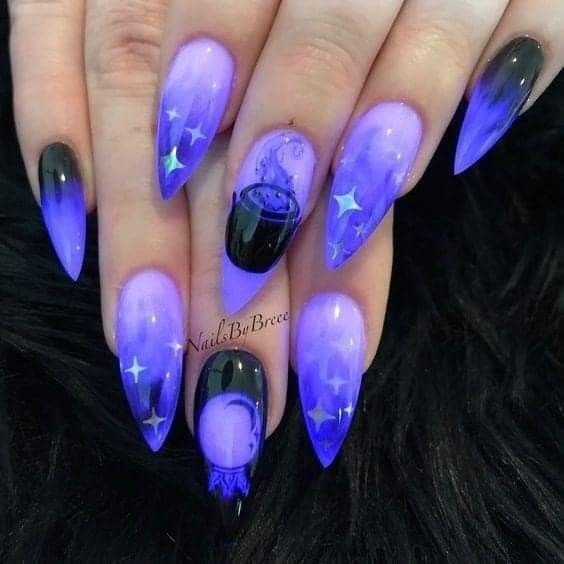 Witchy Witch Wiccan Cauldron Crystal Ball Purple Blue Black Ombre Stiletto Shaped Acrylic Nails Glow In The Bark Goth Nails Gothic Nails Halloween Nail Designs