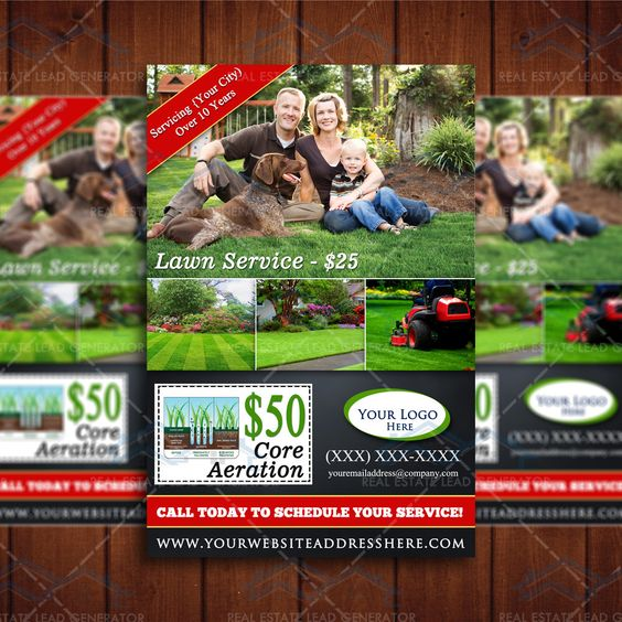 Lawn Service And Landscape: Lawn Care Business Marketing Flyer Template, Service Flyer