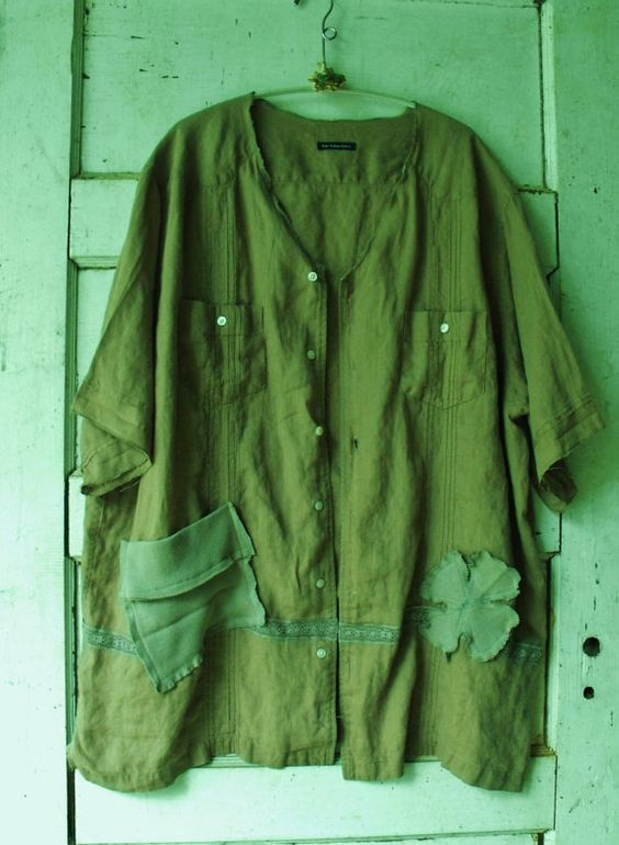Plus Size/Khaki Green/100 Percent Wrinkley Linen by SheerFab, $58.00