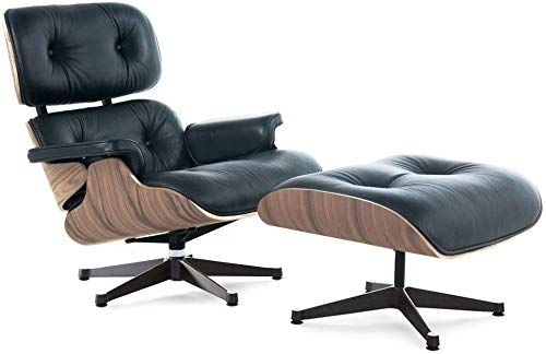 Great For Soho Modern Style Premium Reproduction Lounge Chair And Ottoman Blackaniline L Eames Style Lounge Chair Mid Century Lounge Chairs Eames Lounge Chair