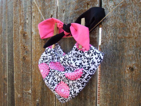 Pink & Black Knot Headband and Bandana Bib Set in Matching Flower Print for Baby Girls - pinned by pin4etsy.com