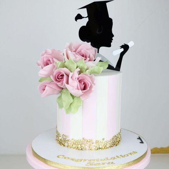 Pink And Gold Graduation Cake Girls Graduation Cake Graduation Party Cake Graduation Cake Designs