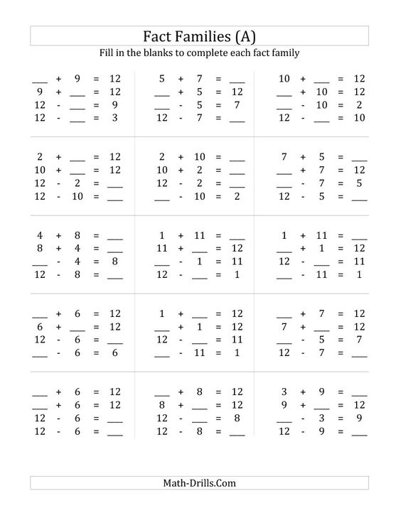 math worksheet : addition and subtraction families and fact families on pinterest : Addition And Subtraction Drill Worksheets