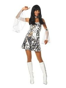 Womens Sexy 70&-39-s Disco Dress Costume Halloween Adult Sequin Silver ...