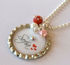 Valentine heart bottle cap pendant charm necklace from Hair Snaps