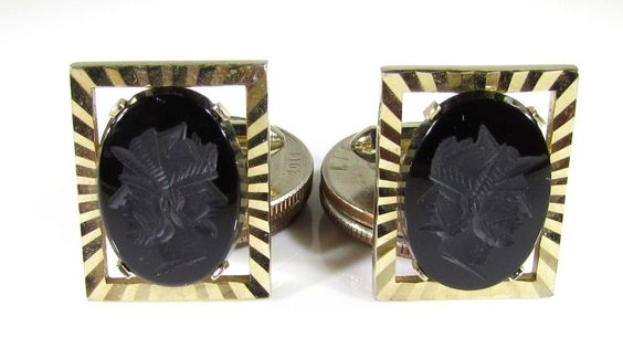 Gold Tone Cufflinks with Three Faced Warrior Engraved on Black Onyx by Swank #Swank