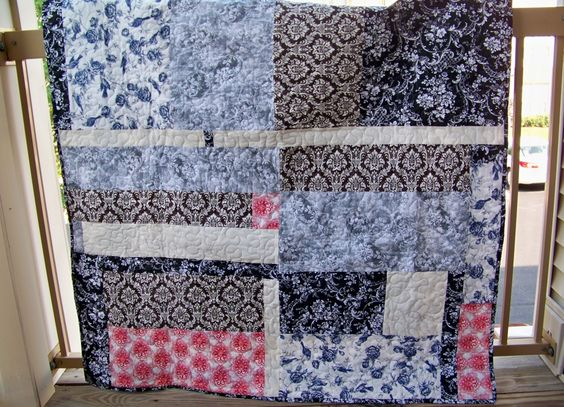 Red, Brown, Cream, Black and Navy Block Quilt