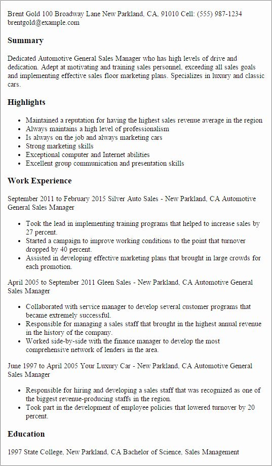 Sales Manager Job Description Resume Beautiful 1 Automotive General Sales Manager Resume Templates Try Th In 2020 Sales Resume Examples Sales Resume Sales Manager Jobs