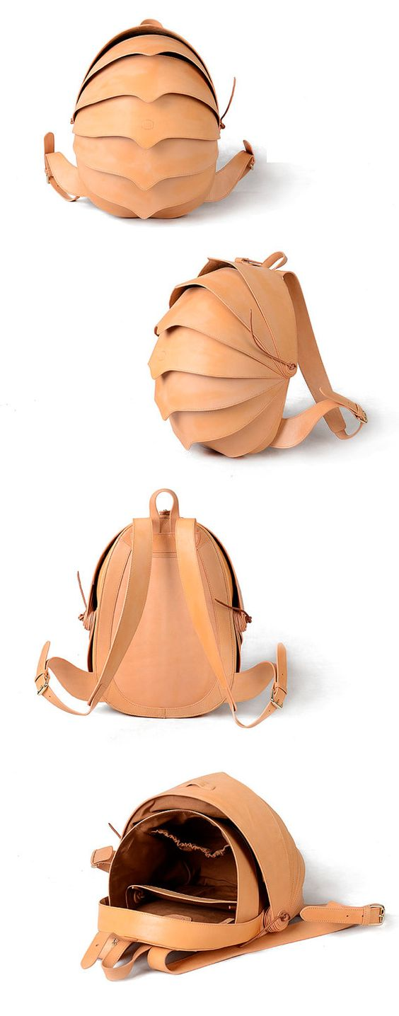 Beetle backpack. Eye-catching yet functional, this spacious cocoon-shaped backpack is crafted from textured leather.