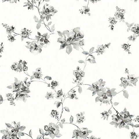 3115 24482 Cyrus Black Floral Wallpaper Total Wallcovering Farmhouse Wallpaper Floral Wallpaper Black Floral Wallpaper