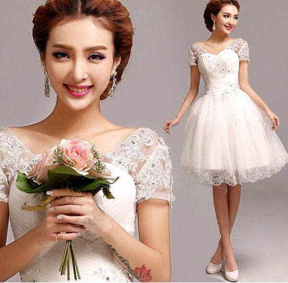 Amazon.co.jp: Doremo global 花嫁ウエディングドレス /ミニドレス/シンプル/マーメイドドレス/結婚式/二次会/演奏会ドレス (M): 服&ファッション小物
